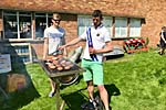 Tending the barbecue