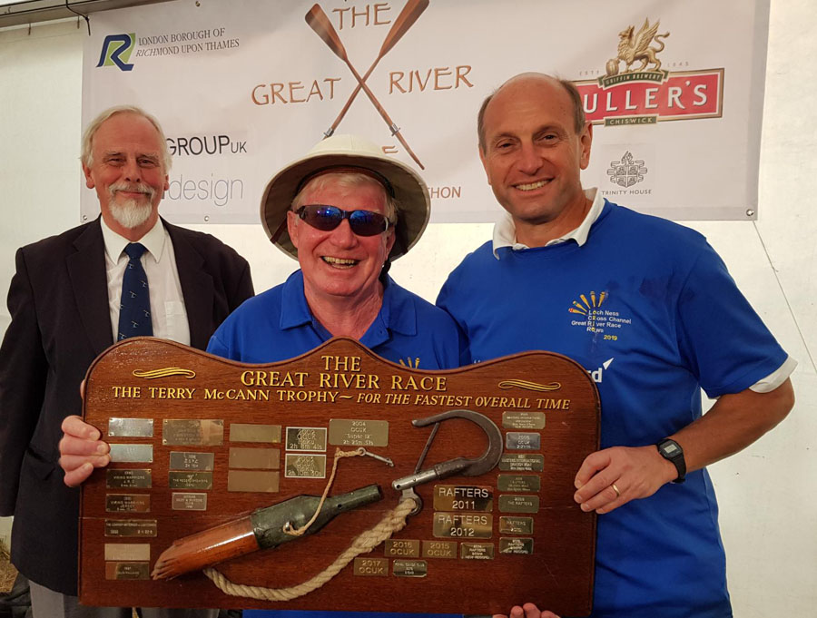 Jock Wishart and Steve Aquilina with the Great River Race trophy